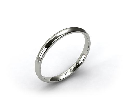 14k White Gold 2mm Comfort Fit Wedding Band